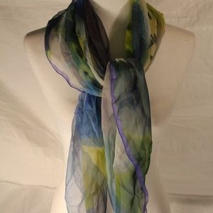 Kerigo blue & green silk scarf, 40x40